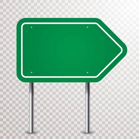 blank green traffic arrow sign with transparent shadows Иллюстрация