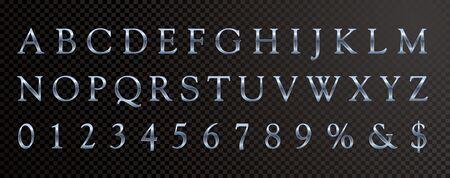 blue shiny metallic plastic font, editable vector alphabet