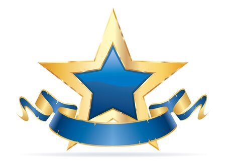 golden blue star with blank grunge blue banner, commercial success icon 免版税图像 - 137218989