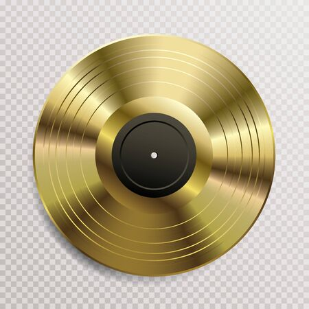 realistic golden vinyl plate with black blank label, retro music success background