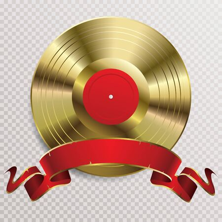 realistic golden vinyl plate with red blank label and blank red banner, retro music success background 免版税图像 - 137333723