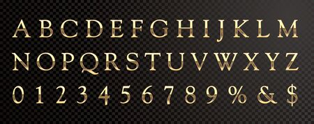 golden shiny metallic font, editable vector alphabet 免版税图像 - 135041855