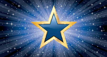 vector golden star on blue star burst