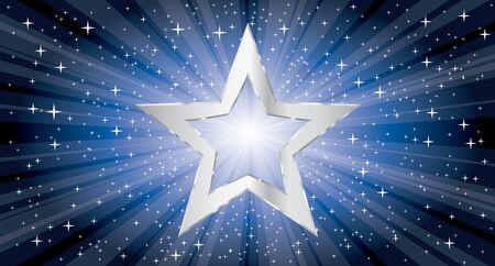 vector silver star on blue star burst 矢量图像