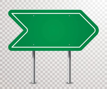 abstract blank green traffic arrow sign with transparent shadows
