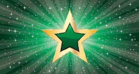 vector golden star on green star burst 免版税图像 - 135051253