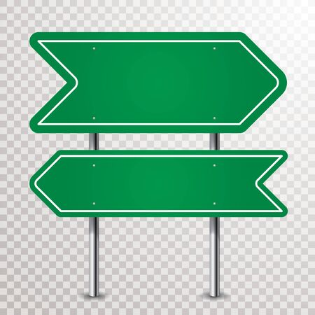 blank abstract green traffic arrows sign with transparent shadows