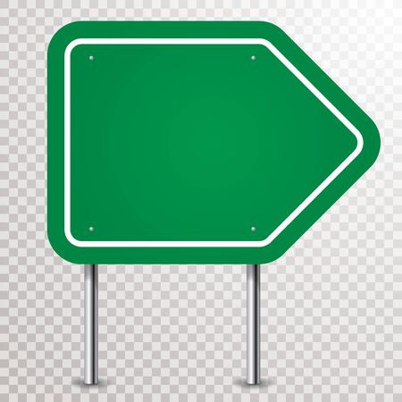 blank green traffic arrow sign with transparent shadows 免版税图像 - 137593158