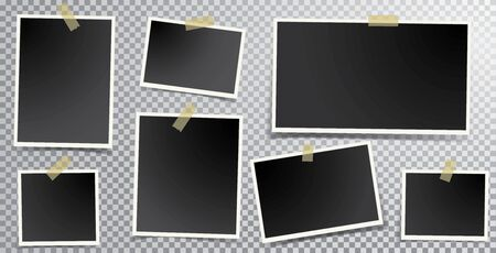 Set of empty photo frames with adhesive tape 矢量图像