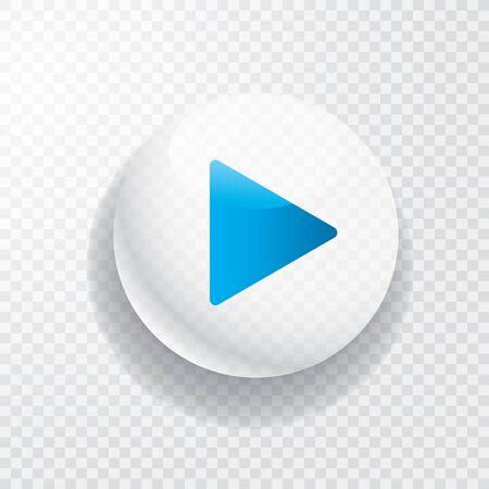 biały przezroczysty przycisk odtwarzania z niebieską strzałką Ilustracje wektorowe