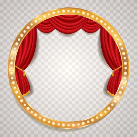 red velvet blank empty stage with golden frame, show business and entertainment background Stock fotó - 138107445