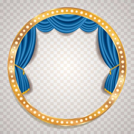 blue velvet blank empty stage with golden frame, show business and entertainment background 免版税图像 - 135163783