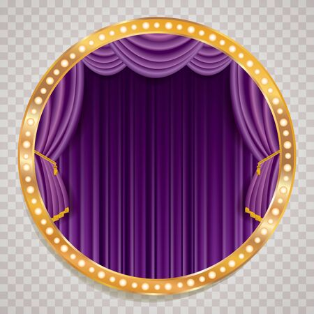 purple velvet blank empty stage with golden frame, show business and entertainment background 免版税图像 - 135173310