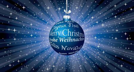vector blue Christmas ball with six languages on blue star burst 免版税图像 - 137949328