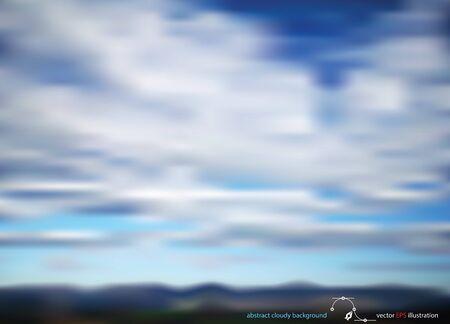 vector horizontal wide blue sky blurred background. Blurred landscape background. 矢量图像