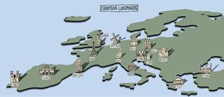European landmarks on simple map with doodle drawings Vectores