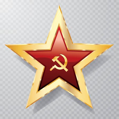 golden red star with sickle, hammer and transparent shadow, communist icon 矢量图像