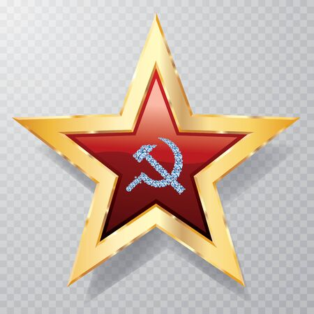 golden red star with diamond sickle and hammer 矢量图像
