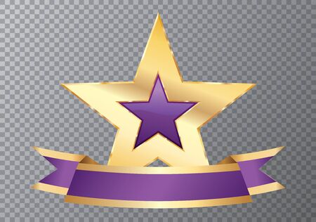 golden purple star with blank banner, commercial icon 免版税图像 - 138070284