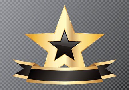 golden black star with blank banner, commercial icon 矢量图像