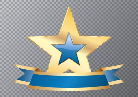 golden purple star with blank banner, commercial icon 免版税图像 - 138070287