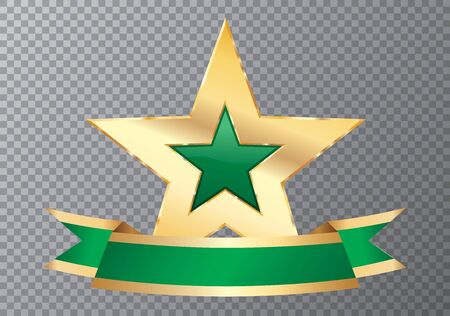 golden purple star with blank banner, commercial icon 矢量图像