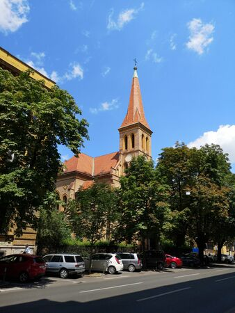 Evangelical church, Zagreb, Croatia 免版税图像 - 136440782