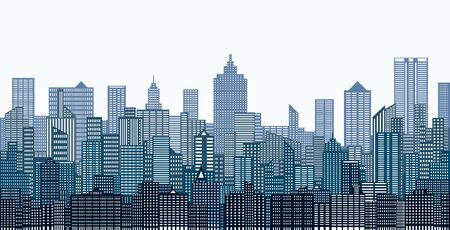 Modern City Skyline on white background. Real estate business concept 免版税图像 - 136545354
