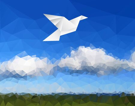 vector illustration with paper dove in paper landscape, low poly   免版税图像 - 140306591