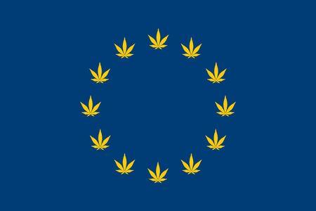 marijuana European flag with grass leaves