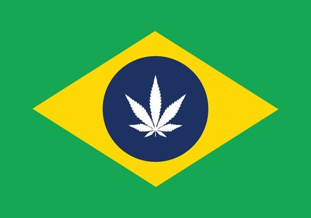 marijuana Brazil flag with grass leaves 免版税图像 - 138030220