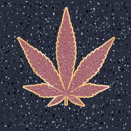 marijuana leaf on Holywood walk of fame, abstract vector illustration