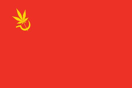 abstract red marijuana flag with yellow grass leaf and sickle 免版税图像 - 138070314