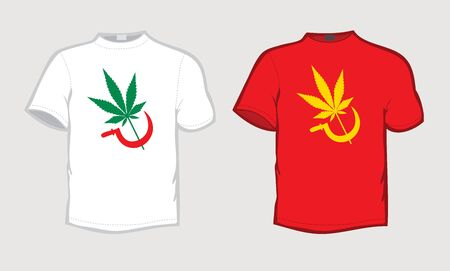t-shirt with weed leaf and sickle 矢量图像