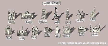 famous European buildings, doodle drawings