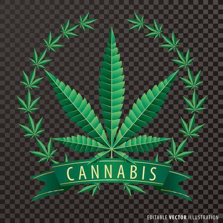 Cannabis marijuana hemp leaf flat icon with wreath and green banner 矢量图像