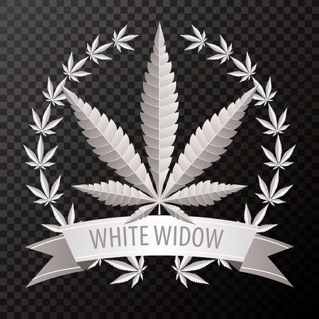 white widow cannabis marijuana hemp leaf flat icon with wreath and banner