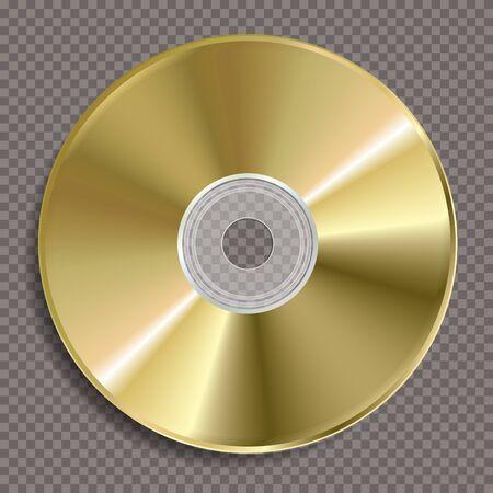 vector realistic illustration of blank golden CD or DVD disc