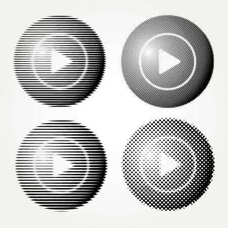 set of vector start buttons, halftone dotted and linear raster 免版税图像 - 138362505