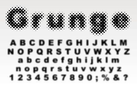 Grunge stain dotted old newspapers halftone raster font 矢量图像