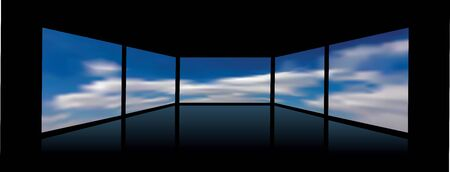 Abstract interior with clouds on screens