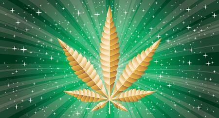 vector golden marijuana leaf on green star burst