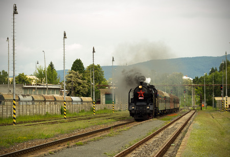 Steam engine train on station