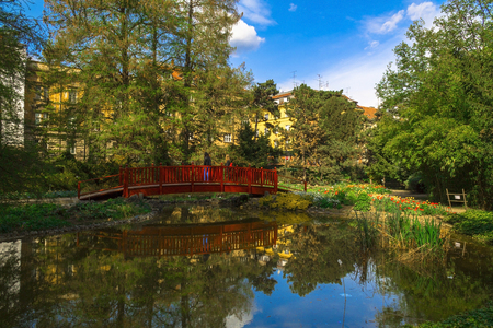 ザグレブ、クロアチアで植物園の中のオアシス