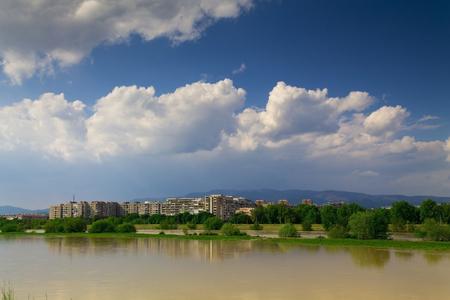 高水位でザグレブ川パノラマ 写真素材