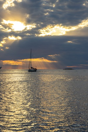 Sunset seascape with a luxury yacht in Croatia