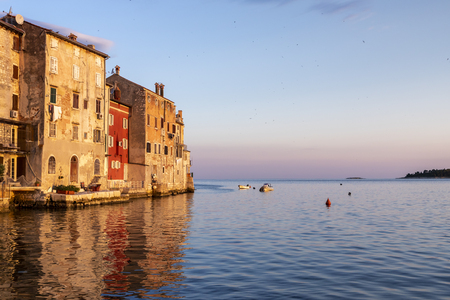 Cityscape of Rovinj town at sunerise in Croatia