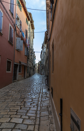 Street and buildings of old town Rovinj in Croatia