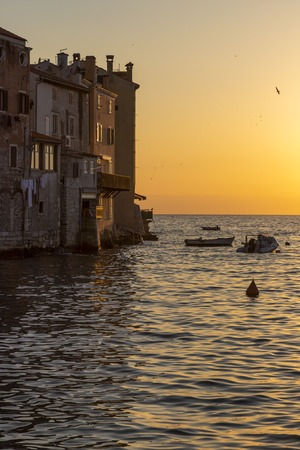 Cityscape of Rovinj town at sunset in Croatia Stock Photo
