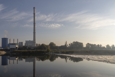 Heating plant in Zagreb on a sunny morning Stock Photo